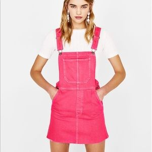 Pink denim pinafore dress. NWT